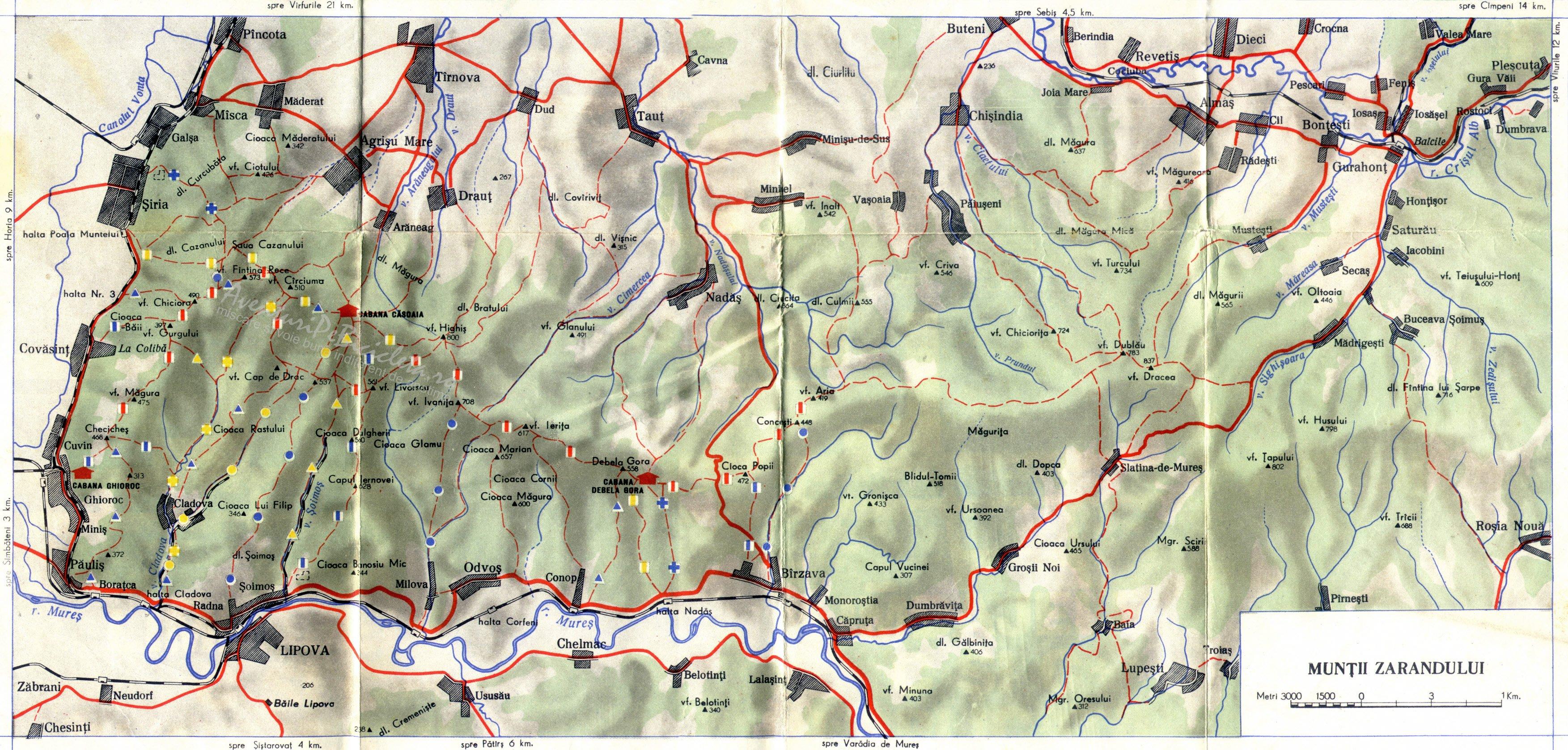 harta muntii zarandului aventuri pe bicicleta