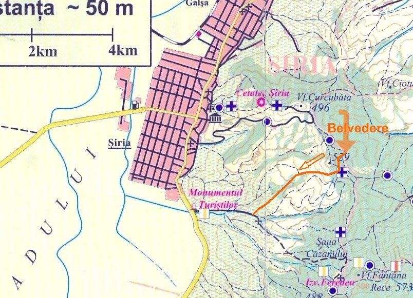 Harta coborarea pericoool de la punct belvedere