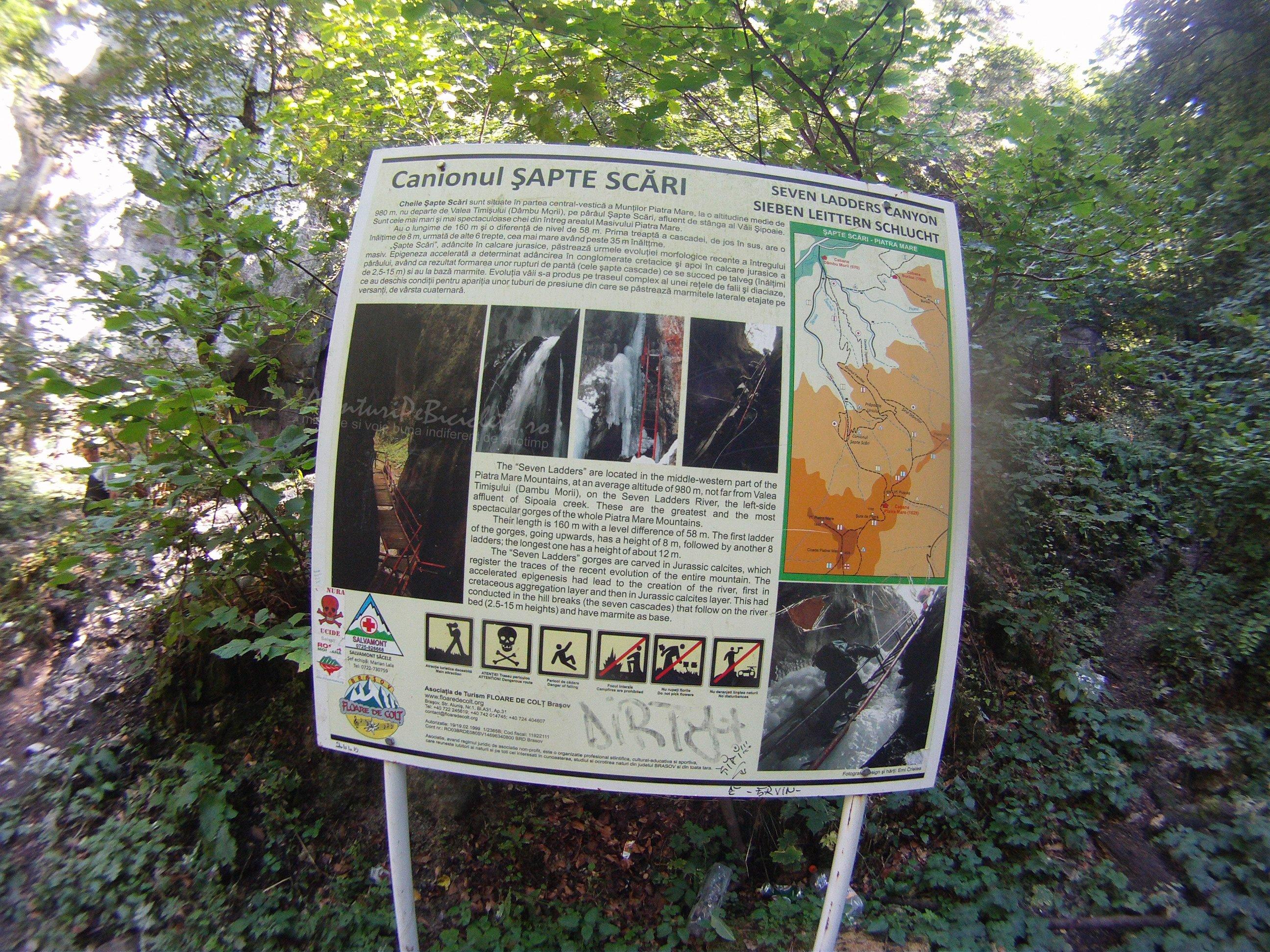Aventuri pe bicicleta – Tura MARE – Traseul: Camping Darste – Canionul si Cascada Sapte Scari