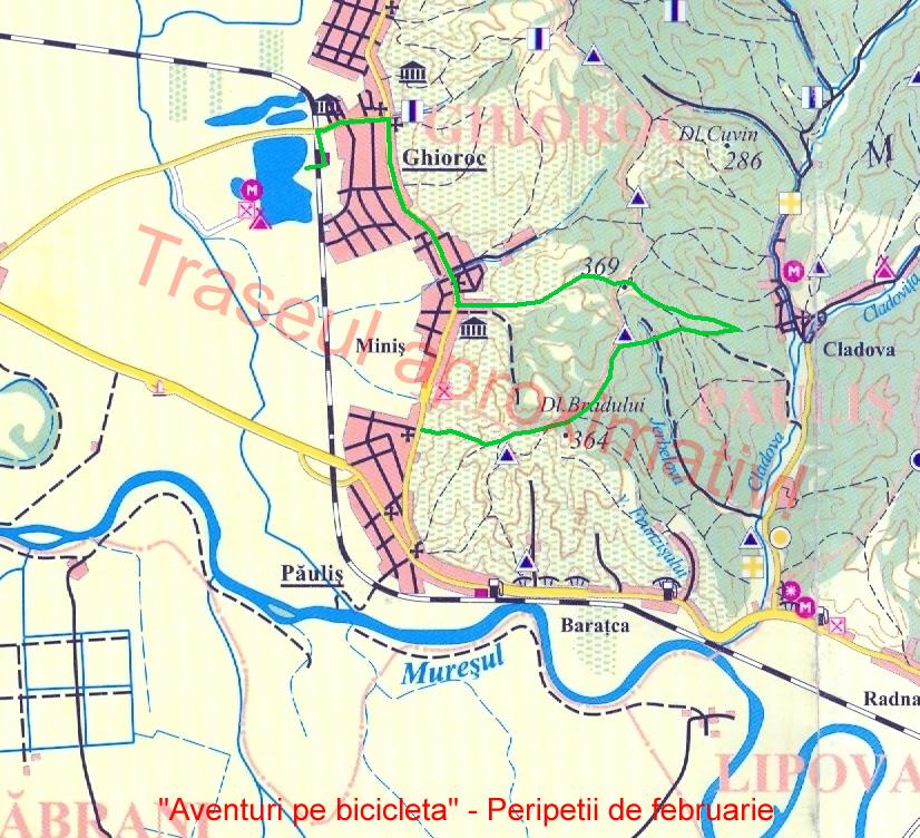Harta traseul Aventuri pe bicicleta - Peripetii de februarie e aproximativa